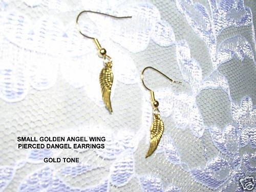 NEW SMALL GOLDEN ANGEL WINGS PIERCED EARRINGS JEWELRY