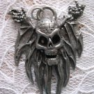 CLEARANCE SALE VINTAGE GOTHIC PEWTER PIN HEAD FLYING SKULL PENDANT NECKLACE
