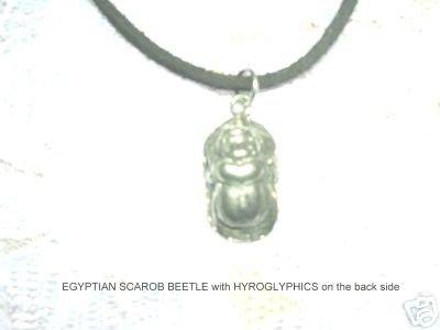ANCIENT PYRAMID EGYPTIAN SCARAB BEETLE PENDANT ADJ CORD NECKLACE