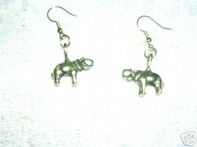 AFRICAN ELEPHANT DANGLING PEWTER METAL CHARM EARRINGS JEWELRY