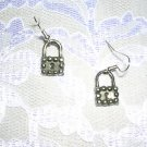 NEW SILVER PEWTER STUDDED PADLOCK LOCK PIERCED EARRINGS