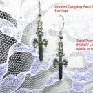 WILD PEWTER SKULL DAGGER DANGLING EARRINGS / GOTHIC DAGGERS CROSSBONES