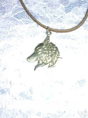 NEW WILDLIFE APEX WOLF HEAD PROFILE FUR PEWTER PENDANT ADJ CORD NECKLACE