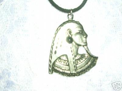 OLD WORD LARGE SIZE ANCIENT EGYPTIAN PHAROAH  BLACK GEM PEWTER ADJ CORD NECKLACE