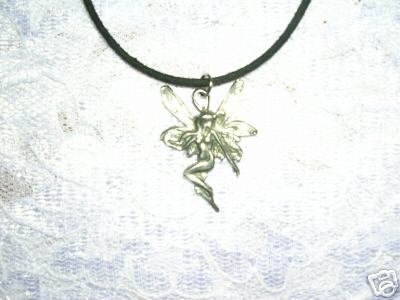 VINTAGE STYLE PRETTY CLASSIC WINGED FAIRY PEWTER PENDANT NECKLACE