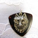 NEW BROWN FENDER BASS GUITAR & PICK WOLF HEAD PENDANT ADJ NECKLACE