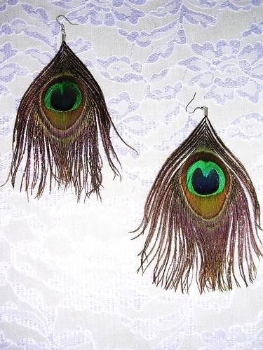 LONG LARGE COLORFUL REAL PEACOCK FEATHERS - FEATHER EARRINGS