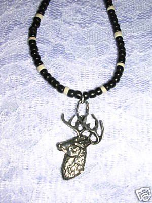 PEWTER DEER BUCK ANIMAL ON BLACK COCO BEAD NECKLACE