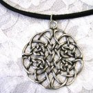 LARGE ROUND CELTIC INFINITY KNOT FOREVER PENDANT ADJ CORD NECKLACE
