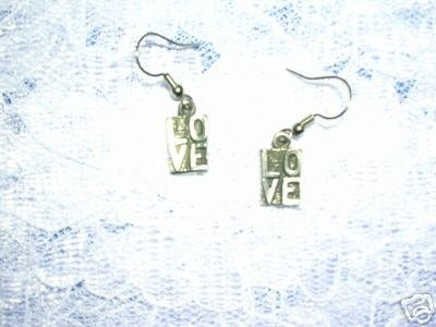 PEWTER JEWELRY LOVE SQUARES DANGLING EARRINGS JEWELRY