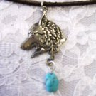 "PEWTER WOLF w TURQUOISE GEMSTONE NUGGET 18"" NECKLACE"