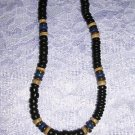 BLACK BROWN TAN BLUE COCO SURF BEADS JEWELRY NECKLACE