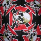 SALE BIKER RIDER MALTESE IRON CROSS WITH SKULLS RED BLACK TAN BANDANA HEAD WRAP SCARF