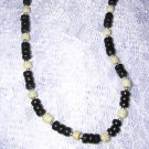 "COOL NEW BLACK & WHITE COCO BEADS 16"" CHOKER NECKLACE"