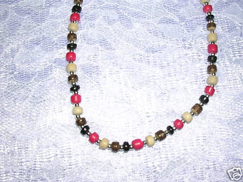 """NEW TAN BROWN RED COLOR COCO BEADS 17"""" NECKLACE BEADS"""