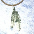 "DOUBLE FEATHERS PEWTER PENDANT 18"" DK BROWN NECKLACE"