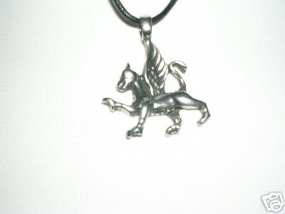NEW MYTHICAL GRIFFIN / WELSH DRAGON SILVER PEWTER PENDANT ADJ CORD NECKLACE