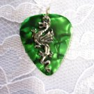 DEEP GREEN GUITAR PICK DRAGON CHARM PENDANT NECKLACE