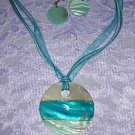 OCEAN & BABY BLUE SHELL NECKLACE EARRINGS JEWELRY SET
