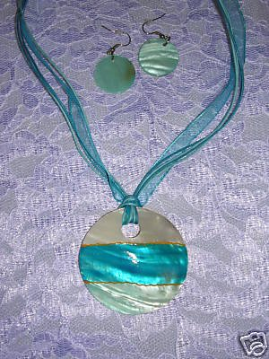 OCEAN & BABY BLUE SHELL NECKLACE EARRINGS JEWELRY SET
