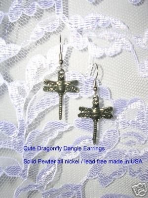 PEWTER DRAGONFLIES DANGLING EARRINGS DRAGONFLY JEWELRY