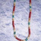 "RED BLUE BEIGE COCO BEADS JEWELRY 18"" SURF NECKLACE"