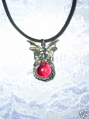 BABY DRAGON ATOP ENCRUSTED RED GEM ORB BALL PEWTER PENDANT ADJ NECKLACE