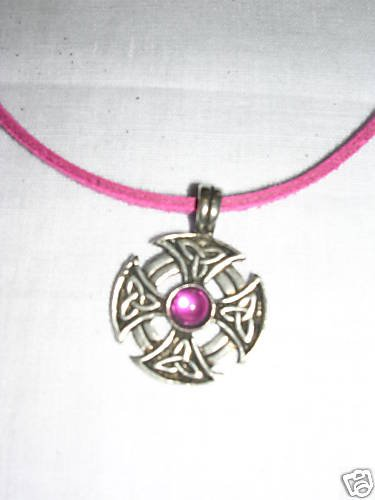INFINITY KNOT CELTIC SHIELD HOT PINK GEM PEWTER PENDANT NECKLACE