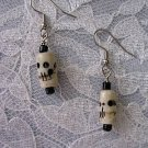 GOTH ANTIQUE LOOK BONE BEAD SKULL  / SKULLS PIERCED HOOK EARRINGS