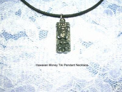 HAWAIIAN LUCKY MONEY TIKI MAN DUDE CAST SILVER PEWTER PENDANT ADJ NECKLACE