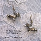 CUTE 3 D DACHSHUND DOG DANGLE PEWTER WEINER DOGS EARRINGS