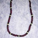 "PURPLE BLACK NAT WHITE COCO BEADS JEWELRY 18"" NECKLACE"