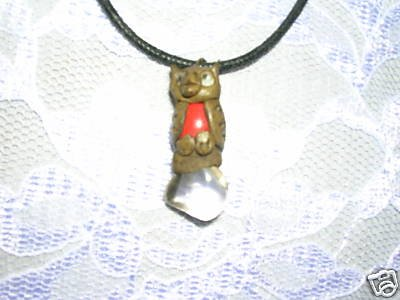 HAND MADE CLAY OWL w CLEAR QUARTZ HEALING CRYSTAL PENDANT NECKLACE