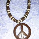 BEACH BUM HIPPIE BROWN & WHITE COCO BEADS & COCONUT PEACE SIGN PENDANT NECKLACE