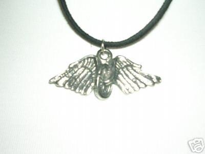 IN MEMORY OF - FALLEN BIKER ANGEL WINGS RIDER PEWTER PENDANT ADJ NECKLACE