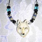 HAND PAINTED CERAMIC WOLF HEAD PENDANT w GLASS ACCENT BEADS ADJ NECKLACE GRAY WOLF