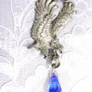 ENGRAVED PREY BIRD EAGLE & DARK BLUE CRYSTAL PEWTER PENDANT NECKLACE