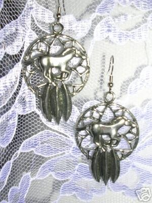 USA CAST PEWTER WILD MUSTANG HORSE TRIBAL DREAM CATCHER PENDANT SIZE DANGLING EARRINGS