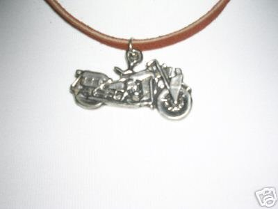 FAT BOY MOTORCYCLE PEWTER PENDANT ADJ STRING NECKLACE