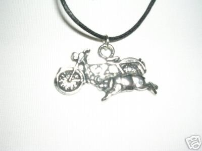 FAT BOY MOTORCYCLE w/ HOG SILVER PEWTER PENDANT NECKLACE