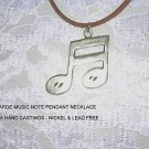 HUGE DOUBLE MUSIC NOTES MUSICAL PEWTER PENDANT NECKLACE