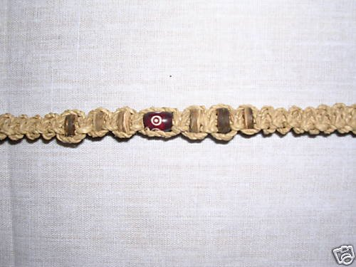 NATURAL CORD WOVEN MACRAME BEAD ACCENTS TIE BRACELET