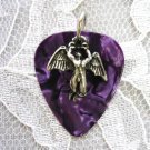 NICE DARK PURPLE REAL CELLULOID GUITAR PICK SWAN SONG ANGEL PENDANT ADJ NECKLACE