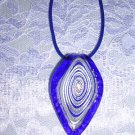 COBALT BLUE SILVER SPIRAL GLASS JEWELRY VELVET NECKLACE