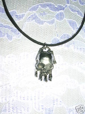 "GOTH SKULL & HAND ALL SEEING EYE PEWTER PENDANT 18"" NECKLACE"