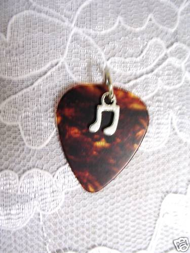 BROWN GUITAR PICK DOUBLE MUSIC NOTE PENDANT NECKLACE