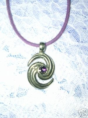 HURRICANE SWIRL PURPLE GEM PEWTER PENDANT NECKLACE