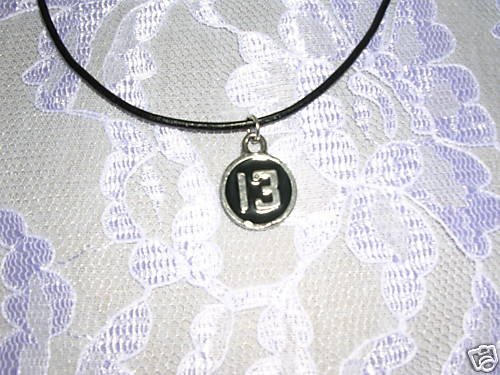 LUCKY NUMBER 13 BLACK INLAY PEWTER NECKLACE ADJ CORD NECKLACE