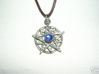 STAR BURST w DARK BLUE GEM PEWTER PENDANT ADJ NECKLACE