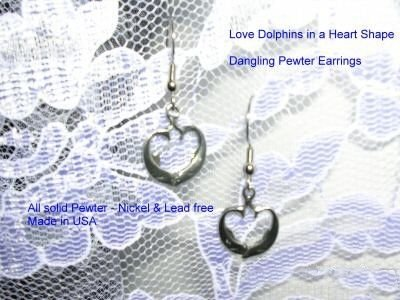 DOLPHIN PEWTER DANGLING HEART SHAPED DOLPHINS EARRINGS